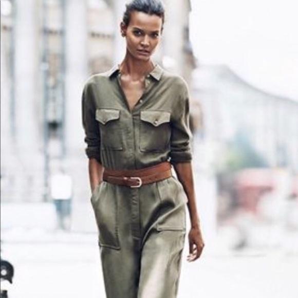 2921c6d3e05b H M Pants - H M Olive Green Long-sleeve Jumpsuit